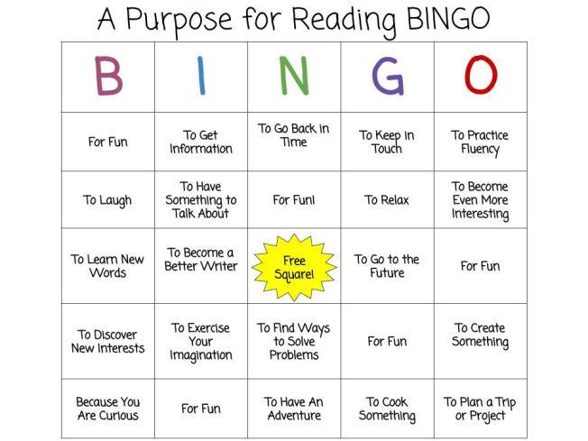 Purpose for Reading BINGO (2)